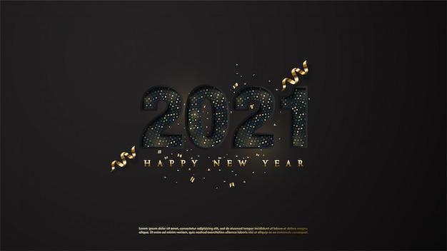 ブラックとゴールドのハーフトーンで新年あけましておめでとうございますの背景。