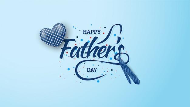 青い風船と父の日の背景と青のネクタイイラスト。