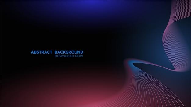 Современный абстрактный фон с прозрачной синей волной на темном