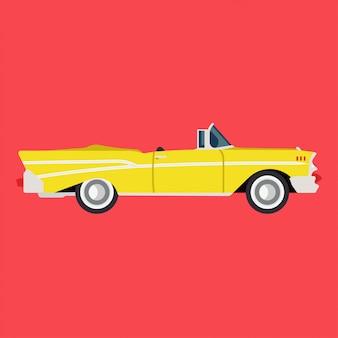 Авто значок ретро желтый вид сбоку плоский. классическая иллюстрация автомобиля