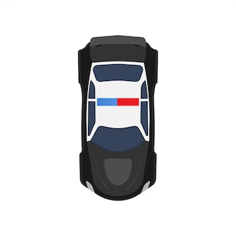 警察車トップビューアイコン車両イラスト。黒と白の輸送パトロール警官
