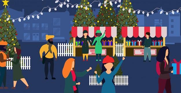 Город иллюстрации карточки зимы магазина рождественской ярмарки.