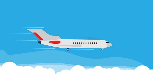 飛行機は雲空イラストバナーコンセプトで飛ぶ。旅行観光ジェット方向休日フラット。