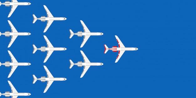 Красный лидер самолет бизнес концепции иллюстрации. направления полета следуют за группой команды.
