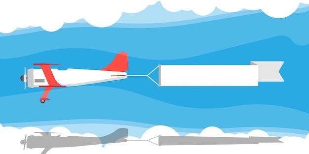 Красный биплан с воздушной лентой баннер иллюстрации.