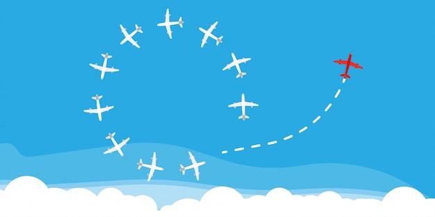 赤い飛行機は方向概念ビジネスソリューションを変更します。