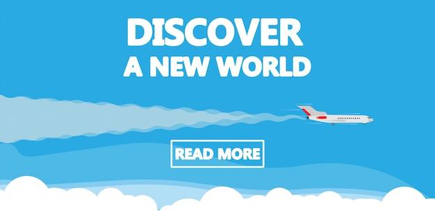 Откройте для себя новый мир иллюстрации концепции самолета.