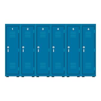 産業用ロッカー青いベクトルアイコン安全キャビネット。部屋の保管商業金属ボックス。