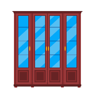 ワードローブクローゼットアイコン家具棚。クローゼキャビネット内部漫画ストレージ。食器棚ファッション木製引き出し
