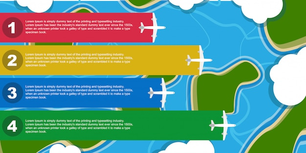 Инфографики плоскости иллюстрации деловых поездок. самолет шаблон баннер элемент. плоская информационная карта