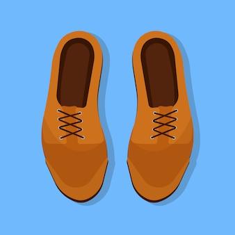Обувь человек вид сверху коричневый плоский значок. модная обувь, обувь, кожаный аксессуар одежды. классический бизнес мультфильм знак