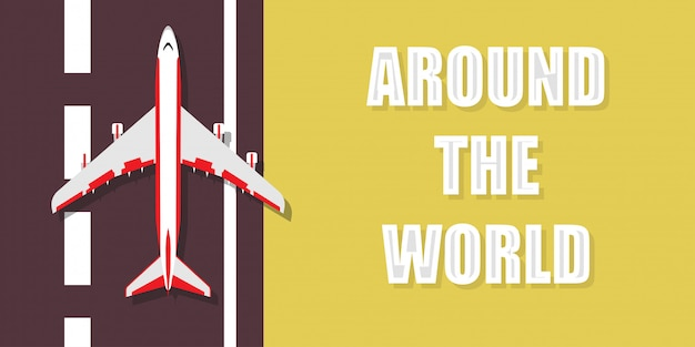 世界旅行イラスト背景。飛行機グローバルツアー休日休暇旅行バナー。クルーズアドベンチャー夏の旅レクリエーションの夢。ビジネス面
