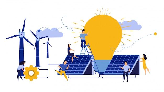 Экология окружающей среды города энергии день земли дизайн. женщина и мужчина строят солнечные панели