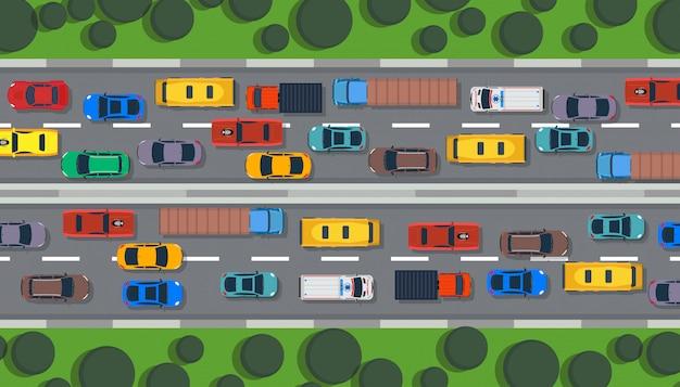 Трафик дороги вид сверху шоссе город
