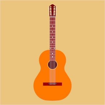 Акустическая гитара. музыкальное искусство классический инструмент джаз. изолированный ретро мультфильм оборудования клуба древесины