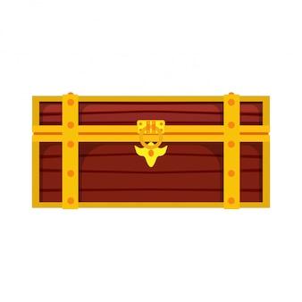 チェストボックスの宝。金の富木製ロック茶色の海賊のお金。トランクゲーム漫画の幸運
