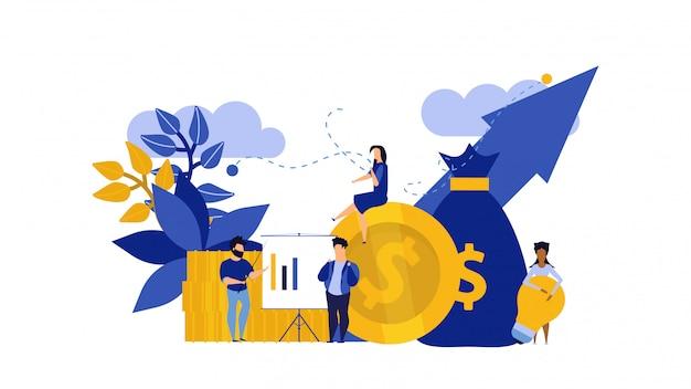 Люди рассматривают деньги, аналитику приложений, коммуникацию бизнеса.