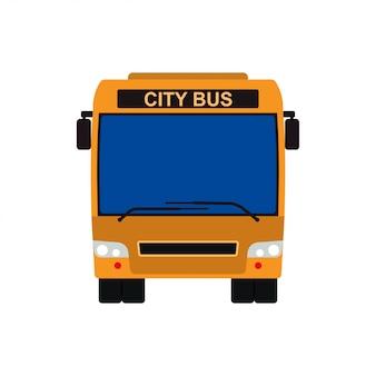 黄色のバスフロントビューベクトル車両図。交通旅行は、孤立した公共車のアイコンです。