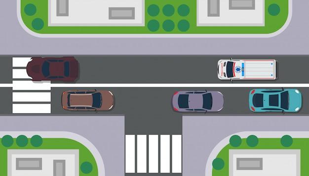 Ландшафт карты здания взгляд сверху города. дорога с машиной, дерево, крыша, трава.