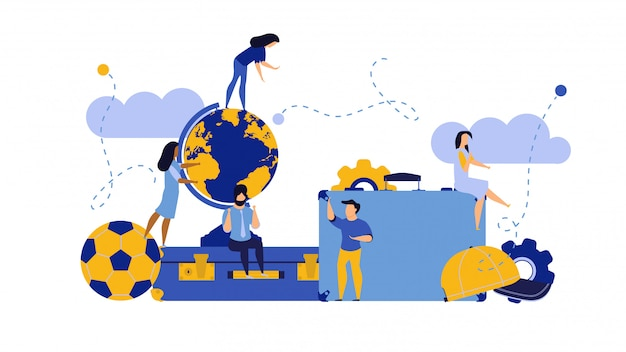Испытание путешествия мужчина и женщина концепции иллюстрации с чемоданом
