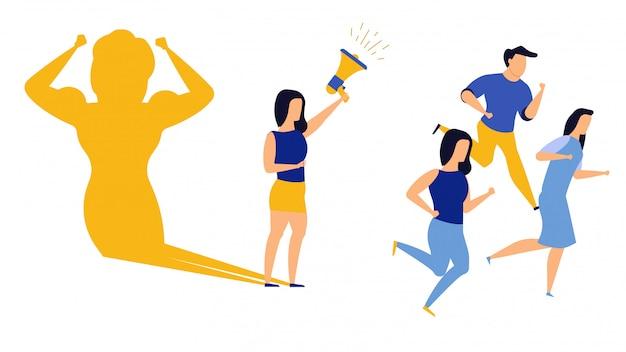 Концепция иллюстрации женщины руководителя бизнес-амбиции. суперженщина мыса бросает вызов руководству.