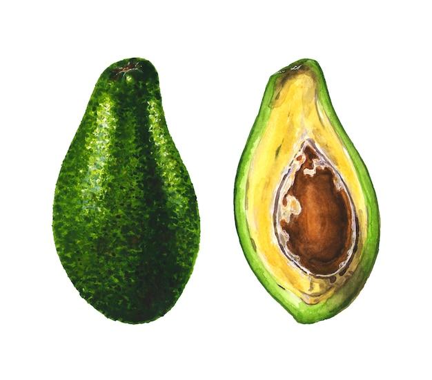 Целый и разрезанный пополам авокадо с косточкой