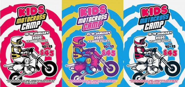 Детский мотокросс лагерь дизайн плаката лето ретро винтаж круто цветные иллюстрации флаер