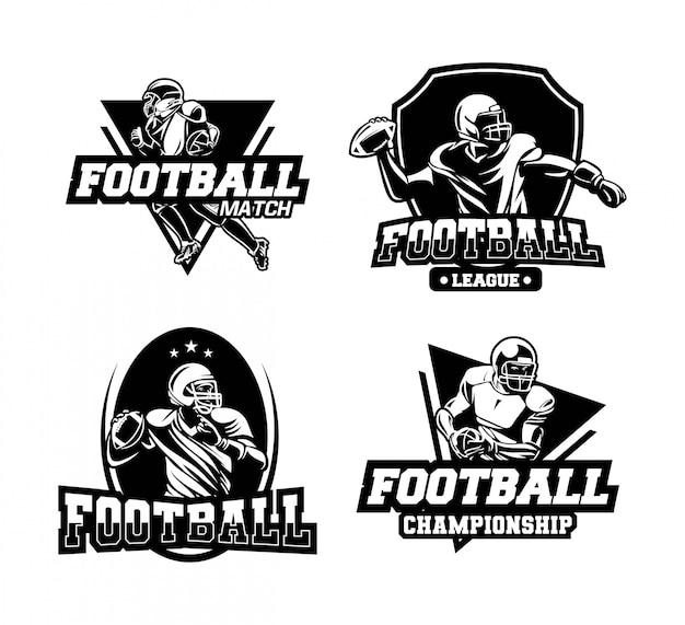 アメリカンフットボールの競争は、黒と白のバッジまたはエンブレムを設定