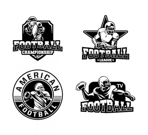 白と黒のアメリカンフットボールバッジコレクションロゴ