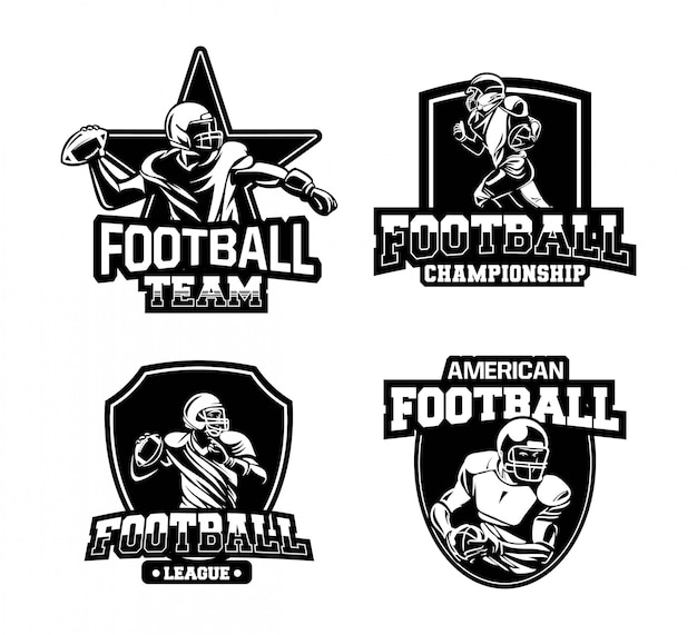 Американский футбол чемпионов логотип знак векторный набор