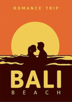 Романтика путешествие бали бич плакат дизайн иллюстрация винтажный стиль ретро