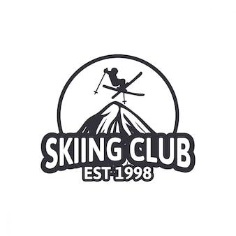 Лыжный клуб, винтажный дизайн, логотип, эмблема, патч, клуб, команда