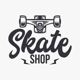 スケートショップのイラストとレタリング