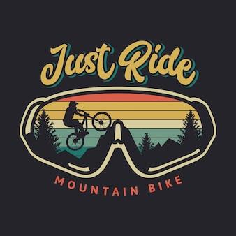 マウンテンバイクのヴィンテージのイラストに乗るだけ