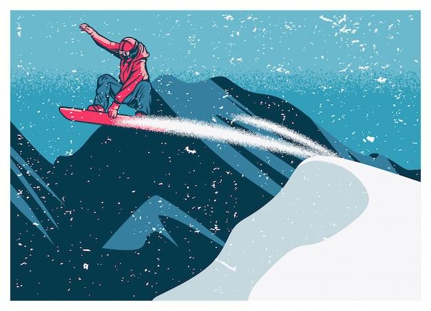 Сноубордист летит по снегу