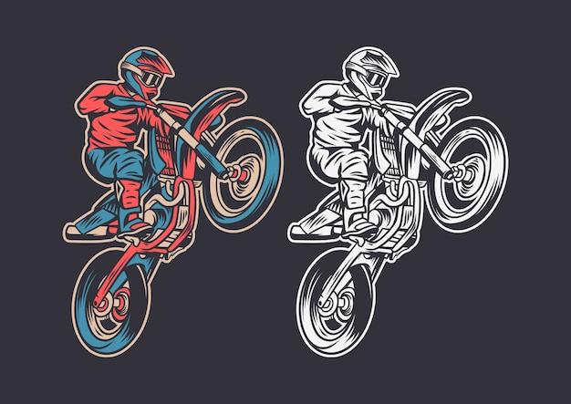 Винтаж ретро иллюстрация мотокросс прыжок