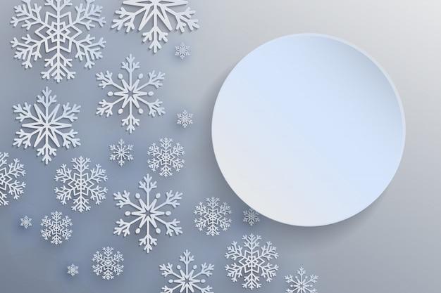 装飾的な雪の結晶をクリスマスの背景。