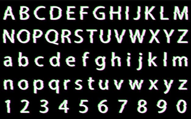 歪んだグリッチフォントのアルファベット。文字と数字