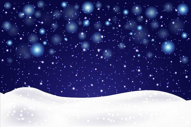 Рождественский пейзаж с падающими снежинками. снежный фон. реалистичный сугроб. иллюстрации.