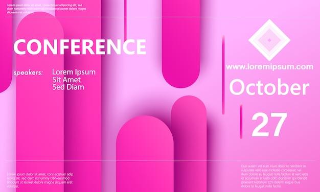 ピンクの背景。会議の発表。事業の背景