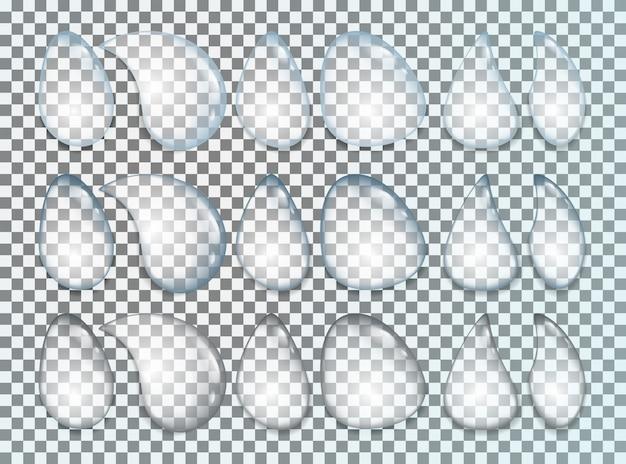 水滴は透明で分離された現実的なセット
