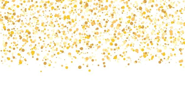 ゴールドラメの質感。落ちる紙吹雪。黄金の水玉の背景。図。