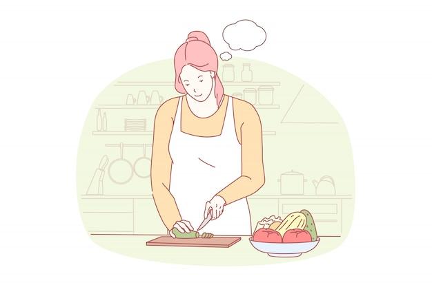 女性料理イラスト