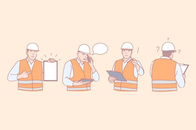 Строительный инженер работник иллюстрации набор