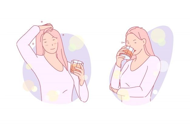 Девушка пьет иллюстрацию