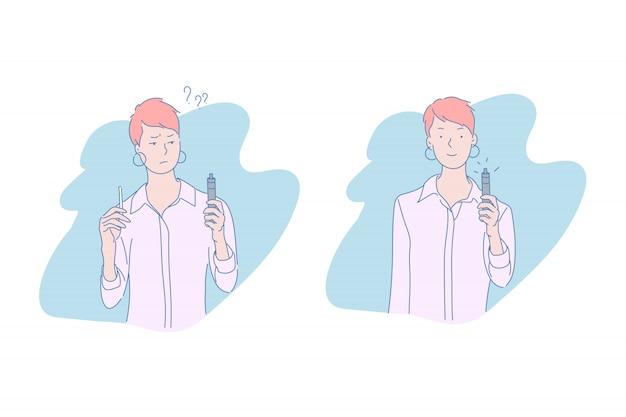 タバコと電子タバコのイラストを持つ女性