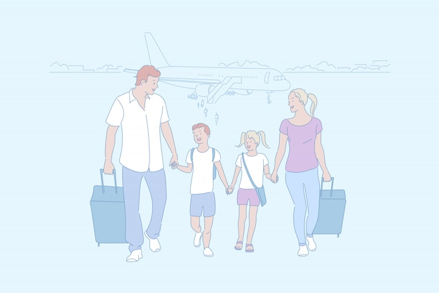 Семья собирается в путешествие вместе иллюстрации