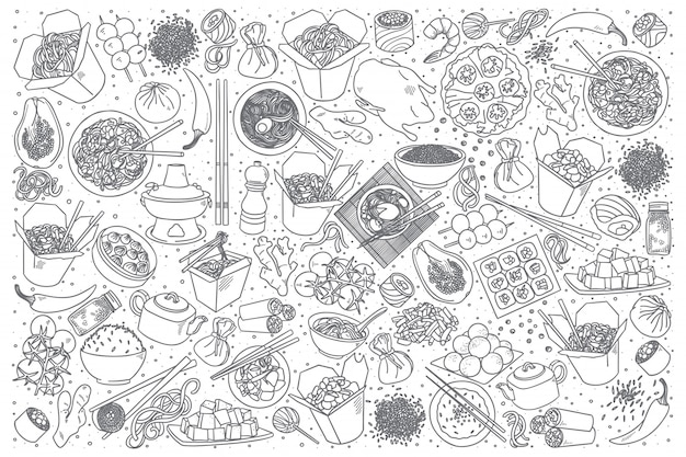 Китайская еда каракули набор