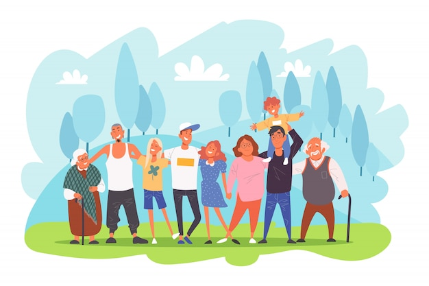 Большой семейный портрет, родители с детьми, бабушки и дедушки и внуки обнимают друг друга