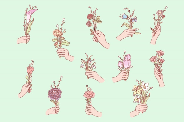 手に花の束